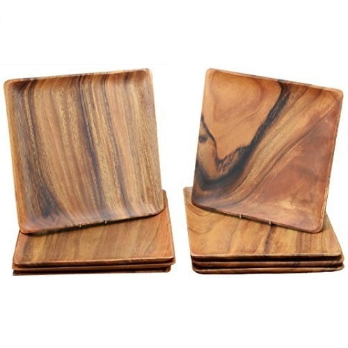 "Acacia Wood Square Plates/Trays, 10"" x 10"" x 1"", Set of 8"