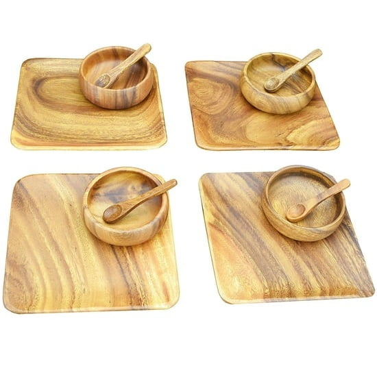 "Acacia Wood 12-Piece Appetizer Serving Set with 8"" Square Plates, 4"" Round Bowls and Spoons"