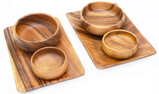 6-pc Acacia Wood Appetizer & Cheese Serving Trays with 2 Salad Bowls and 2 Dipping Bowls