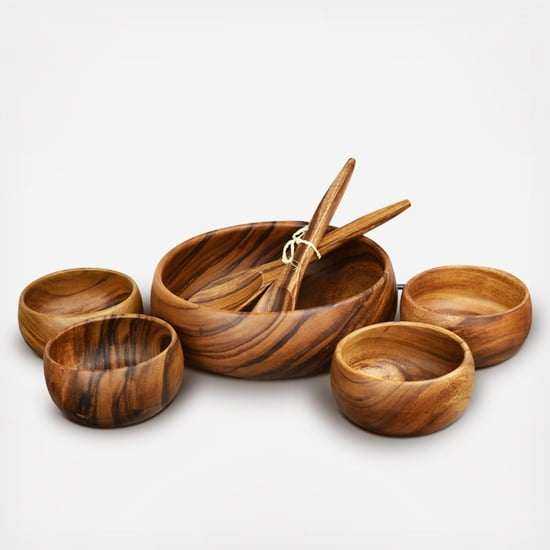 "Acacia Wood 7-Piece Round Serving Set with 12"" x 4"" Salad Bowl, 6"" x 3"" Salad Bowls and 12"" Servers"