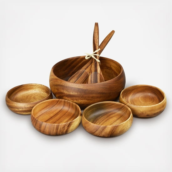 Acacia Wood 7-Piece Round 10 in. Salad Bowl Set with Bowls and Salad Servers