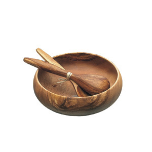Acacia Wood 10 in. Round Calabash Bowl