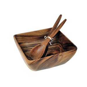 "Acacia Wood Square Bowl, 10"" x 4.5"" with Salad Servers"