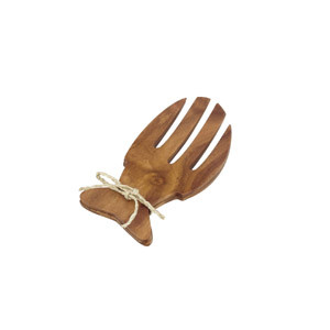 "Acacia Wood 6.5"" Fish-Shaped Salad Serving Set"