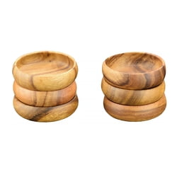 "Acacia Wood Round Nut & Dipping Bowl, 4"" x 1.5"", Set of 6"