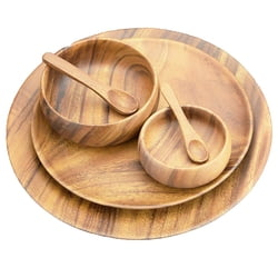 Acacia Wood Round Trays/Chargers with Serving Bowls & Spoons, Set of 6 Pieces