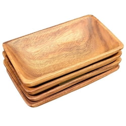 "Acacia Wood Rectangle Serving Tray, 8"" x 5"" x 1.5"", Set of 4"
