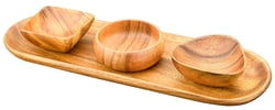 4-pc Acacia Wood Bread and Appetizer Serving Tray with Assorted Nut & Dipping Bowls