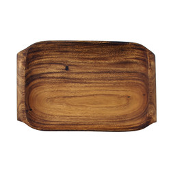"Acacia Wood Serving Tray with Handles, 16"" x 10"" x 1.5"""