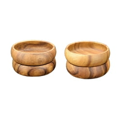 "Acacia Wood Round Nut & Dipping Bowl, 4"" x 1.5"", Set of 4"