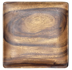 Acacia Wood 12 in. Square Serving Plate/Tray with Square Sauce Dishes, Set of 3 Pcs