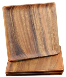 Acacia Wood 12 in. Square Plates/Trays, Set of 4