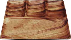 "Acacia Wood 12"" Square Tray with 4 Sections, 11"" x 11"" x 1"""