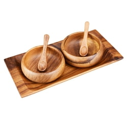 "Acacia Wood 5-Piece Appetizer Gift Set with 10"" Tray, 4"" Round Bowls and Spoons"