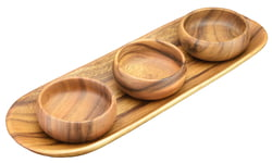 Acacia Wood Appetizer/Bread Serving Tray with Round Nut & Dipping Bowls, Set of 4 Pieces