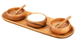 "Bread and Appetizer Tray Set with 4"" x 1.5"" Dip & Nut Bowls, Natural Soy Candle, and Spoons"
