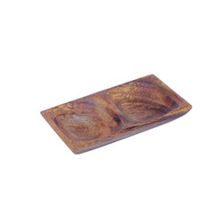 "Acacia Wood 2 Compartment Mini-Tray, 4.75"" x 2.75"" x 7/8"""