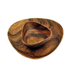 "Acacia Wood 12"" Bermuda Triangle Plate with Bermuda Bowl, 6"" x 6"" x 3"""