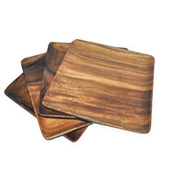 "Acacia Wood Square Plate (Set of 4), 7"" x 7"" x 0.75"""