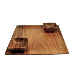 "Acacia Wood Square Serving Tray, 12"" x 12"" x 12"" with 2 Square Sauce Dishes 3.5"" x 3.5"" x 1.5"""