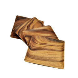 "Acacia Wood Square Plates/Trays, 10"" x 10"" x 1"", Set of 4"