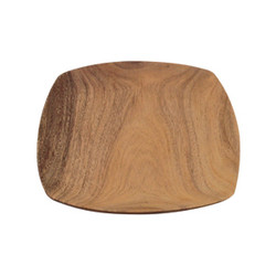 "Acacia Wood Tapered Square Plate 10"" x 10"" x 1"""