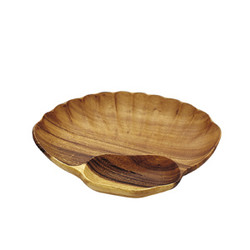 "Acacia Wood Shell Fan Chip & Dip Tray 14.5"" x 10"" x 1.5"""