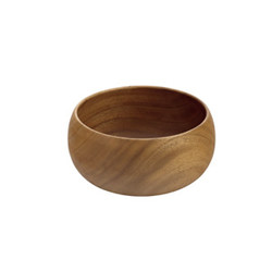 "Acacia Wood Round Calabash Bowl, 10"" D x 5"" Depth"