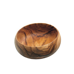 "Acacia Wood Round Calabash Bowl, 12"" D x 5"" Depth"