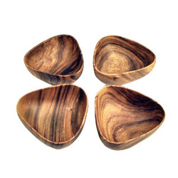 "Acacia Wood 3-Sided Salad & Pasta Bowl, 6"" x 3"", Set of 4"