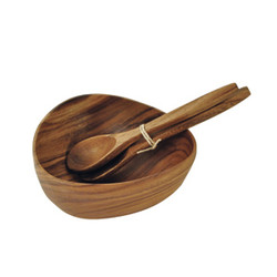 "Acacia Wood Bermuda Bowl, 10"" x 10"" x 4"" with a Free 12"" Salad Serving Set"