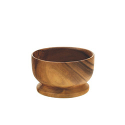 "Acacia Wood Round Bowl with Base, 5"" D x 3.5 Depth"