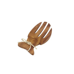 Acacia Wood 6.5 in. Fish-Shaped Salad Serving Set