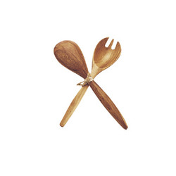 Acacia Wood Fork & Spoon Serving Set, 10""