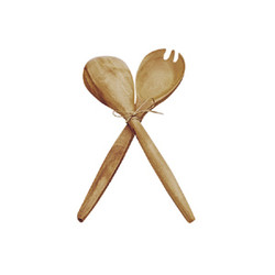Acacia Wood Fork & Spoon Serving Set, 14""