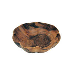 "Acacia Wood Scalloped Bowl, 10"" x 10"" x 4"""
