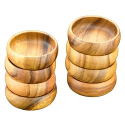 "Acacia Wood Round Salad and Pasta Bowls, 6"" x 2"", Set of 8"