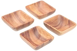 Acacia Wood 3.5 in. Square Sauce Dish, Set of 4