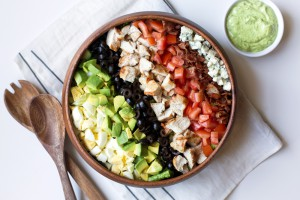 cobb salad in bowl.
