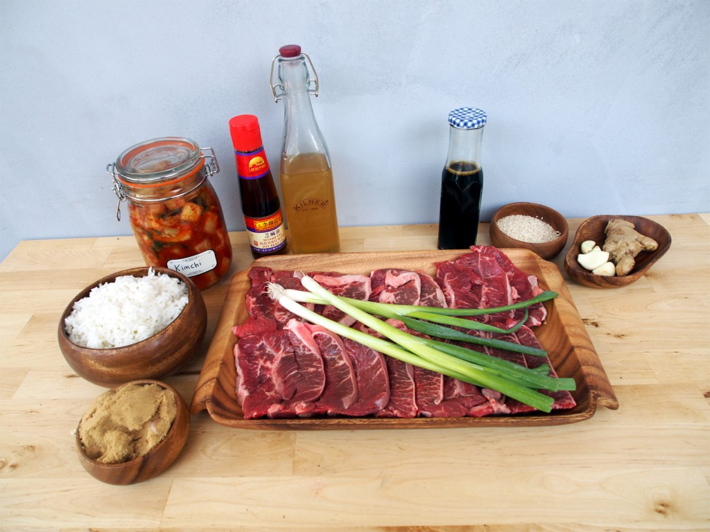 Ingredients for Korean Barbecue Layout