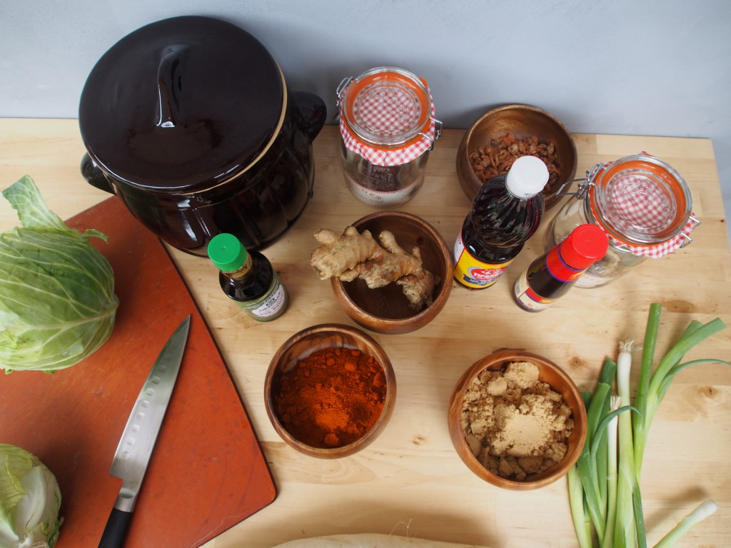 Making Kimchi in a clay fermenting crock