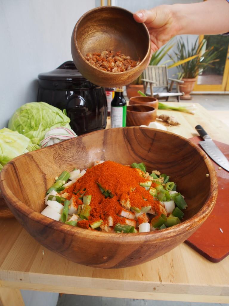 making kimchi wooden bowl