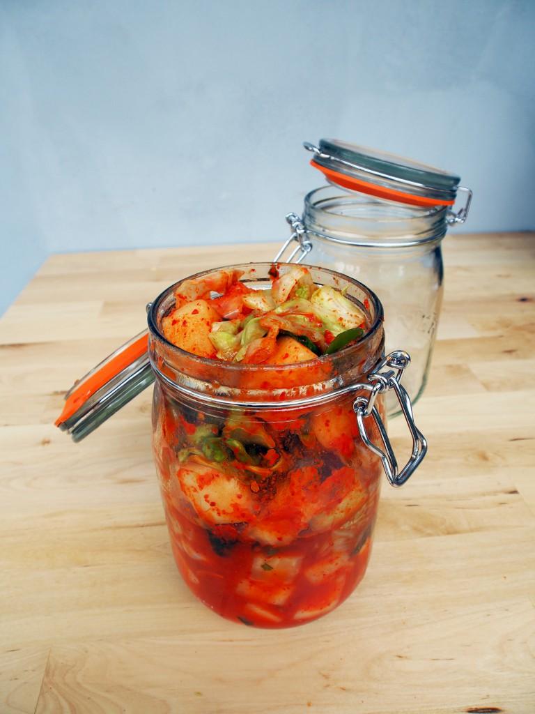 Homemade Kimchi in Kilner Jars