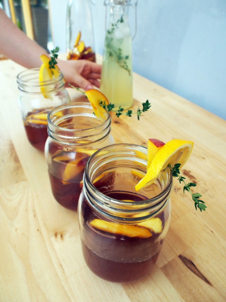 Peach Iced Tea in Jars
