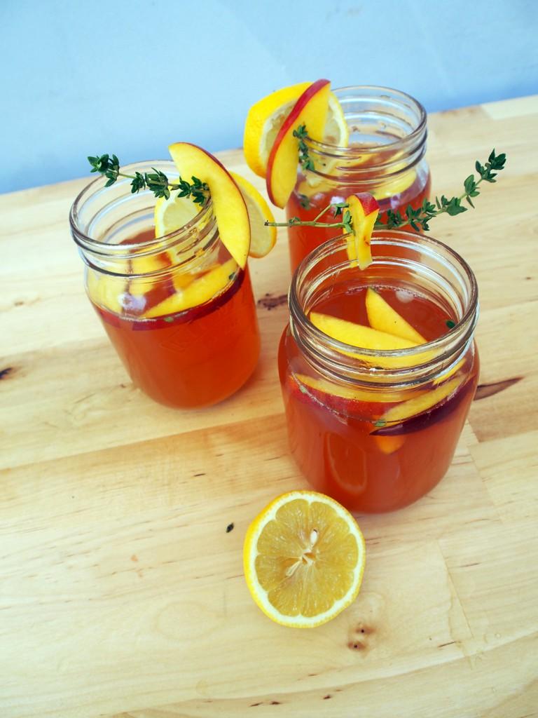 Peach iced tea in jars
