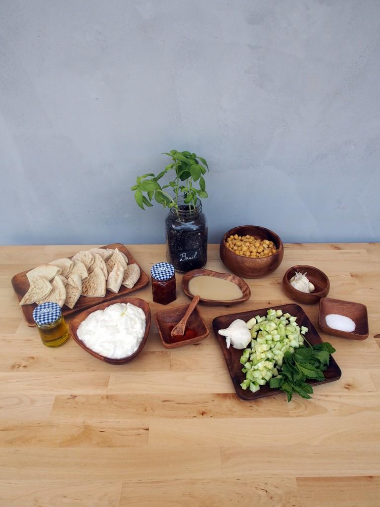 Ingredients for hummus, ingredients for tzatziki