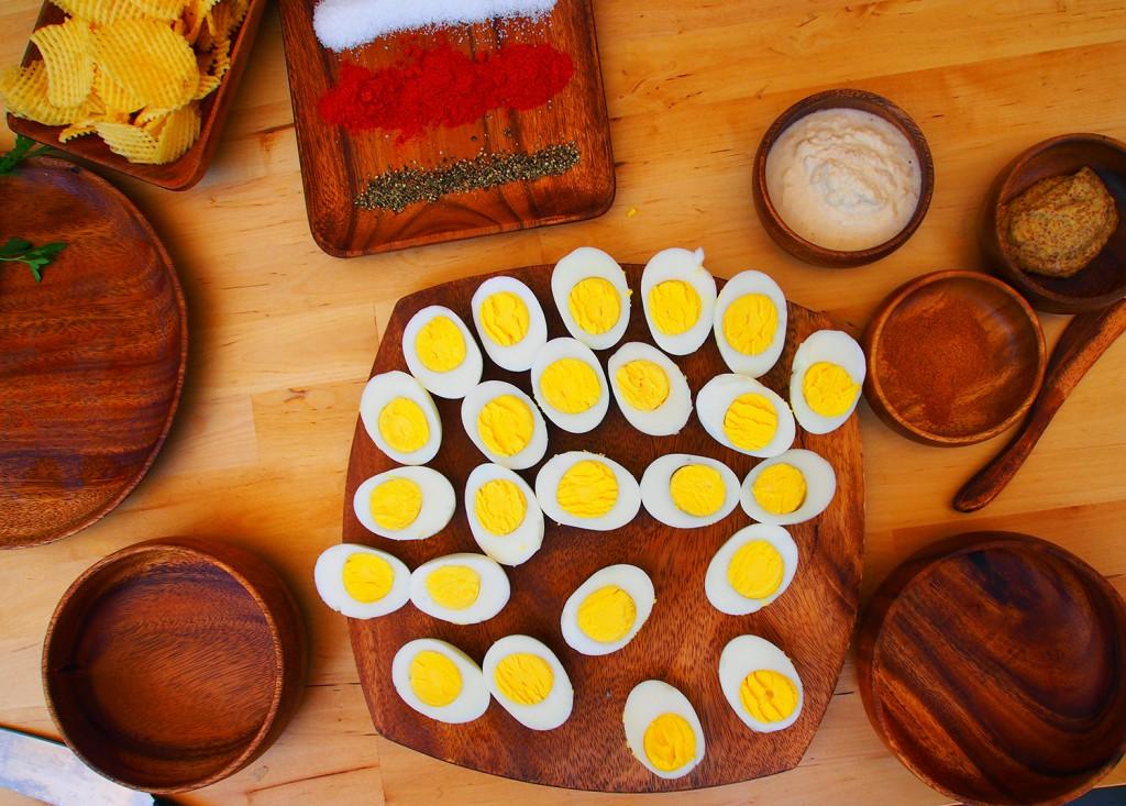 Horseradish deviled eggs, curry deviled eggs