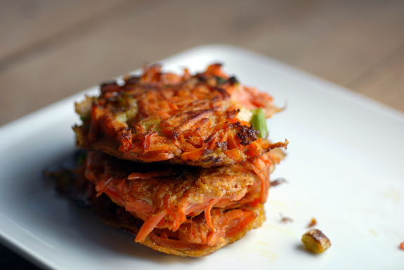 Carrot/Scallion Latkes - Photo Credit: Elana's Pantry