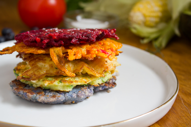 Rainbow Latkes - Photo Credit: What Jew Wanna Eat