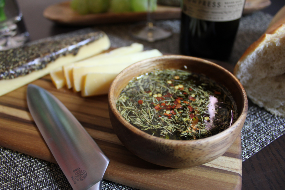 Simple Herb and Olive Oil Dip Featuring Acacia Wood Bowl and Cheese Board